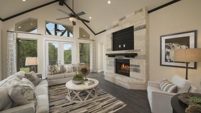 Texas Custom Home FireplaceVaulted CeilingsStone and Brick Work Photos