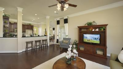Family Room - The Savannah Model in Bryan Design Center Tilson Custom Home Photo