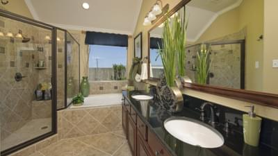 Master Bathroom - The Savannah Model in Bryan Design Center Tilson Custom Home Photo