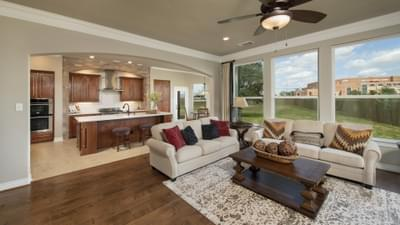 Family Room - Fredericksburg Model in Katy Design Center Tilson Custom Home Photo
