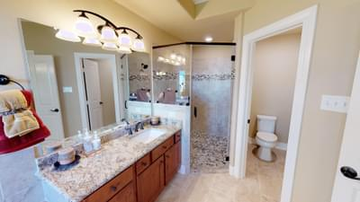 Master Bathroom - The Palacios Model in the Angleton Design Center Tilson Custom Home Photo