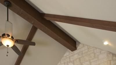Family Room Cathedral Ceilings with Wood Beams - Breckenridge Model in Weatherford Tilson Custom Home Photo