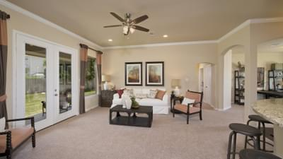 Family Room - The Guadalupe Model in San Marcos Design Center Tilson Custom Home Photo