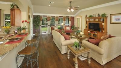 Family Room - The Palacios Model in the Angleton Design Center Tilson Custom Home Photo