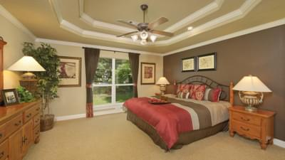 Master Bedroom - The Palacios Model in the Angleton Design Center Tilson Custom Home Photo