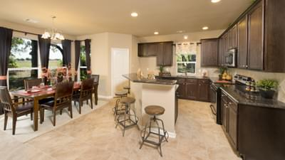 Kitchen and Dining Room - The Parker Model in Weatherford Design Center Tilson Custom Home Photo