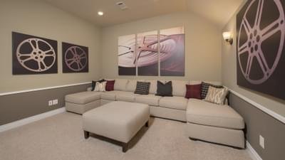 Optional Upstairs Theater Room - The Rockwall Model in McKinney Design Center Tilson Custom Home Photo