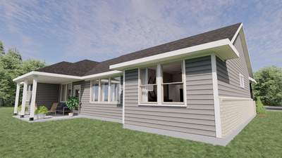 Elevation D with Rear Covered Porch Option - The Tampico | Rendered Home - May Contain Upgrades and Plan Changes Tilson Custom Home Photo