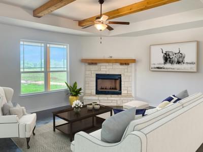 Family Room with Corner Fireplace   Harrisburg C - Customer Home Tilson Custom Home Photo