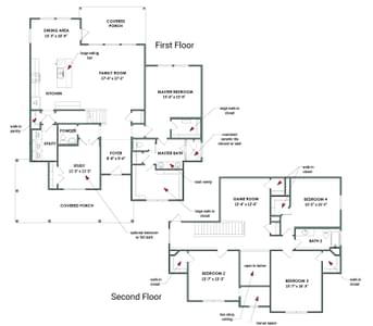 Floor Plan   Elevation C   The Granbury Tilson Custom Home Photo
