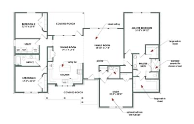 Floor Plan | Elevation D | The Abilene Tilson Custom Home Photo