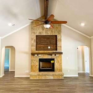 Fireplace and Cathedral Ceiling- The Canyon | Customer Home in Guadalupe County - May Contain Upgrades and Plan Changes Tilson Custom Home Photo
