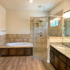 Alternate Master Bath - The Canyon | Customer Home in Guadalupe County - May Contain Upgrades and Plan Changes Tilson Custom Home Photo
