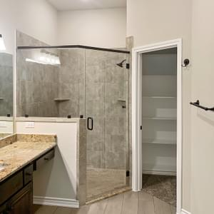 Master Bath Walk-In Shower – The La Porte | Customer Home in Brazoria County - May Contain Upgrades and Plan Changes Tilson Custom Home Photo
