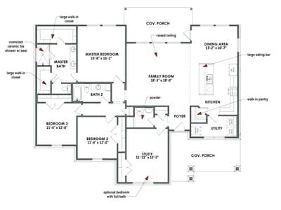 Floor Plan |Elevation D | The Livingston Tilson Custom Home Photo
