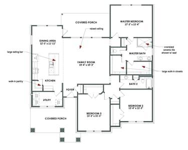 Floor Plan | Elevation B | The Travis Tilson Custom Home Photo