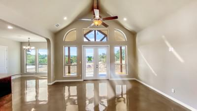 Living Room - The Cypress | Customer Home in Bandera County - May Contain Plan Changes and Upgrades Tilson Custom Home Photo