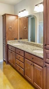Master Bath - The Cypress | Customer Home in Bandera County - May Contain Plan Changes and Upgrades Tilson Custom Home Photo