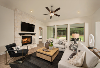 Standard Ceiling Family Room Rendering with Optional Fireplace - La Salle Tilson Custom Home Photo