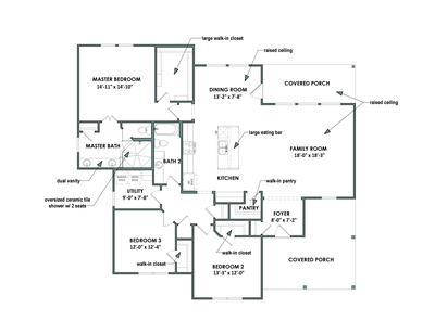 Floor Plan for Elevation C| The Live Oak Tilson Custom Home Photo